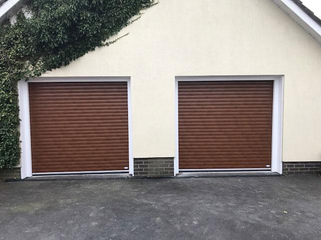 Double Brown Roller Doors
